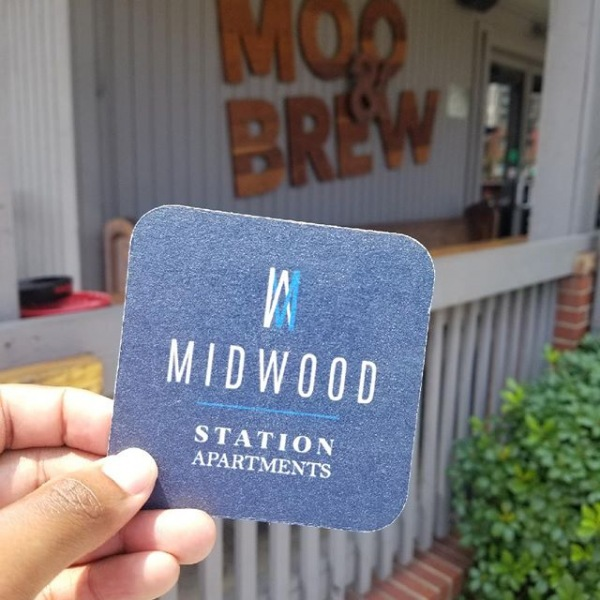 Looking for an apartment in Plaza Midwood?! Find our custom coasters in popular locations throughout the neighborhood offering a waived application fee!